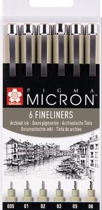 SAKURA Pigma Micron Fineliners zwart (6 stuks)