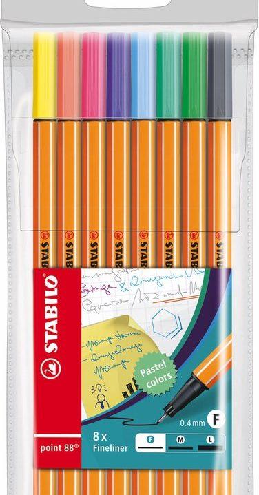STABILO point 88 Fineliner Pastelkleuren 8 kleuren