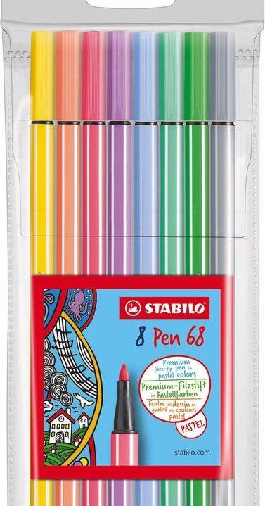 STABILO pen 68 Viltstiften 8 stuks pastelkleuren