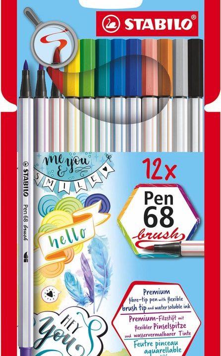 STABILO Pen 68 Brush Viltstiften 12 kleuren