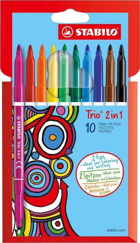 STABILO Trio 2 in 1 Viltstiften – Etui 10 kleuren