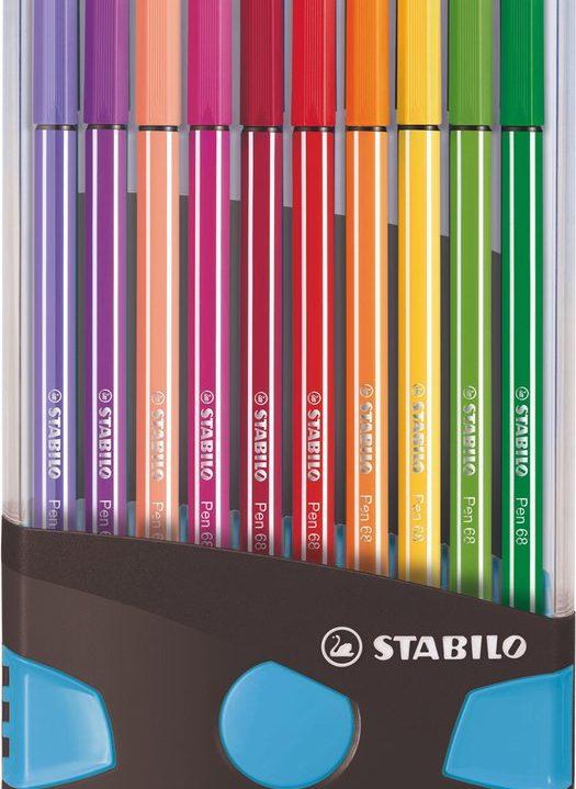 STABILO Pen 68 ColorParade Antraciet/Licht Blauw Met 20 Kleuren