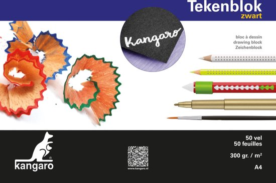 Tekenblok Kangaro A4 300 gram 50 vel zwart