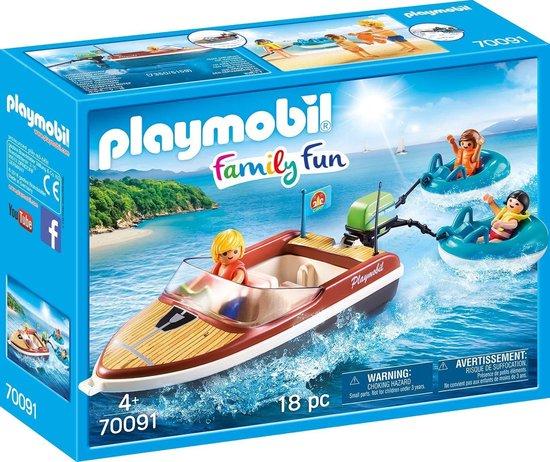 PLAYMOBIL Family Fun Motorboot met funtubes – 70091