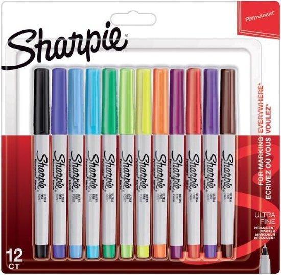 Sharpie Permanent Markers Ultra Fijne Punt Kleuren 12 stuks