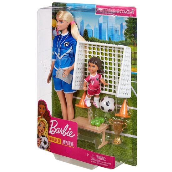 Barbie Voetbalcoach Poppen en Speelset – Barbiepop
