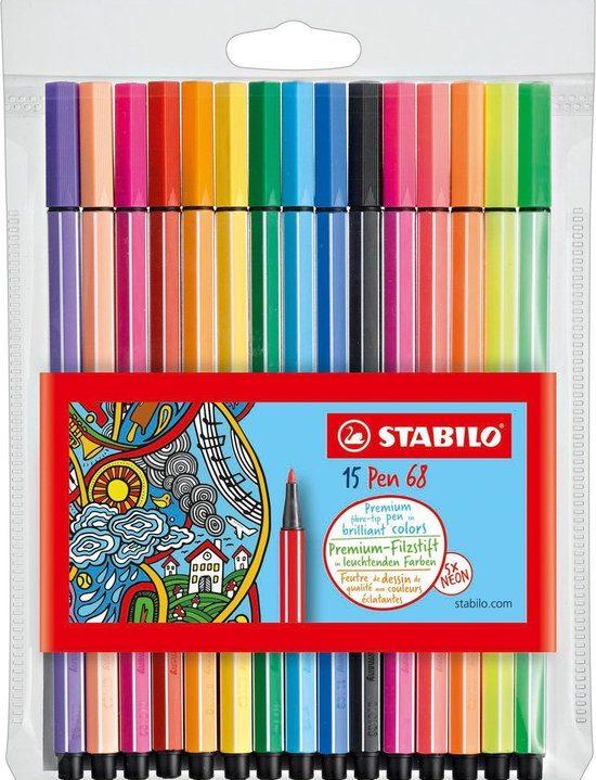 STABILO Pen 68 Viltstiften 15 Stuks