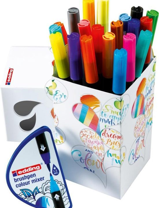 edding Colour Happy Box 20 brushpennen in handige box Flexibele, penseelvormige punt