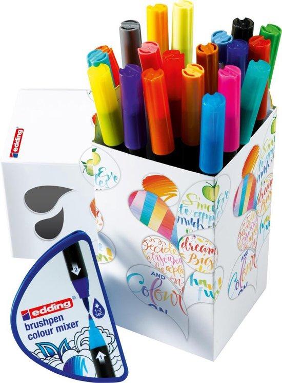edding Colour Happy Box 20 brushpennen in handige box Flexibele, penseelvormige punt