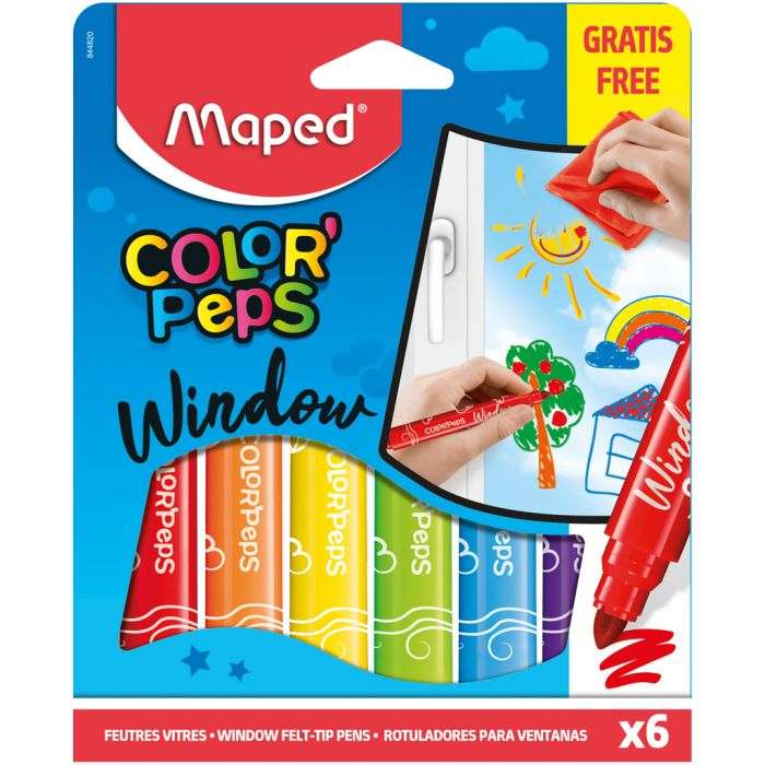 Viltstiften Maped Window Paint 6 Kleuren Met Doek