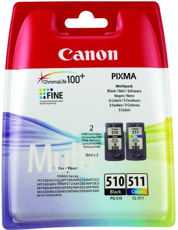 Canon Pixma  510 Zwart + 511 Kleur Multipack