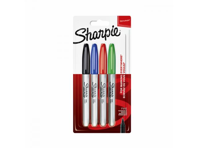 Sharpie Fine viltstift- set á 4 stuks: zwart,blauw,groen,rood
