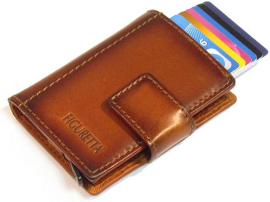 Figuretta Leren RFID Cardprotector Creditcardhouder met muntgeldvak – Bruin