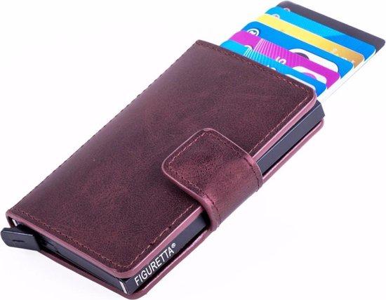 Figuretta RFID Creditcardhouder PU-leer – Bordeaux Rood