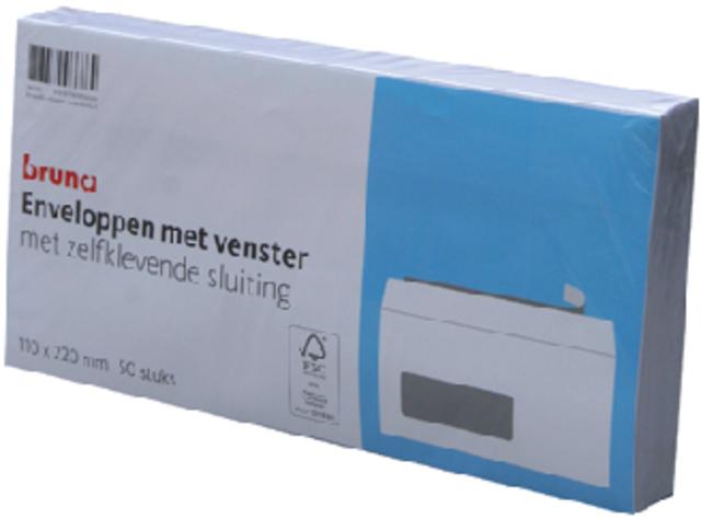 Envelop Bruna 110x220mm venster 3x10mm links zelfkl. 50stuks
