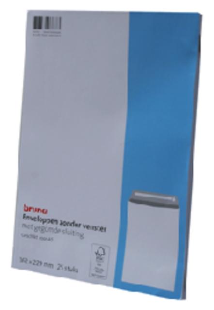 Envelop Bruna akte C5 162x229mm gegomd wit 25 stuks