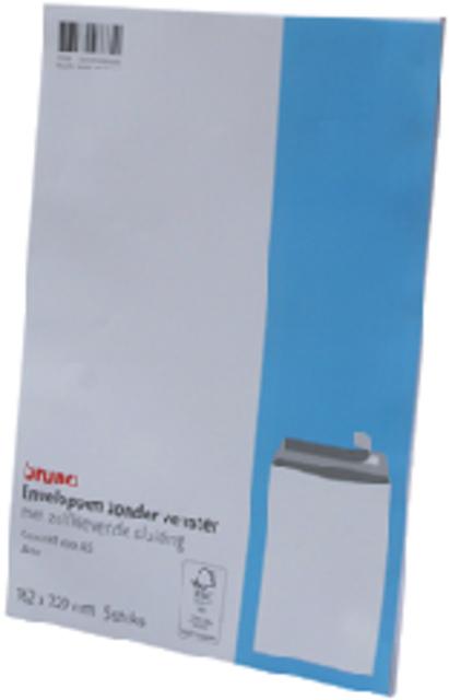 Envelop Bruna akte C5 162x229mm zelfklevend wit 5 stuks