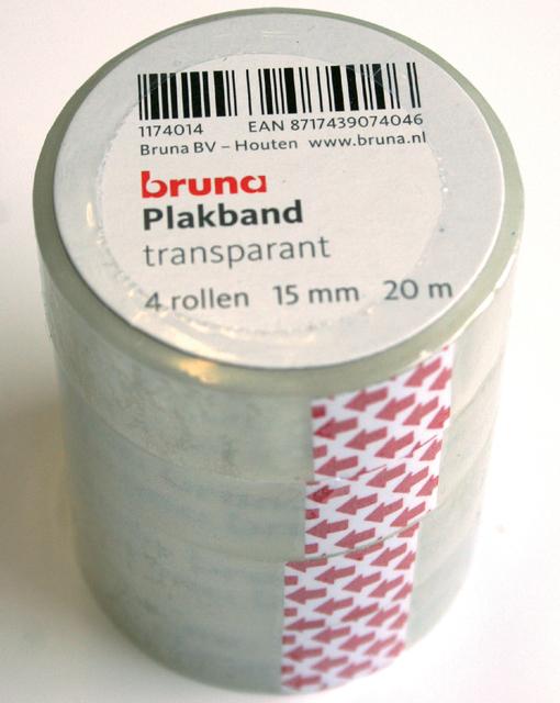 Plakband Bruna transparant 15mmx20m 4rol