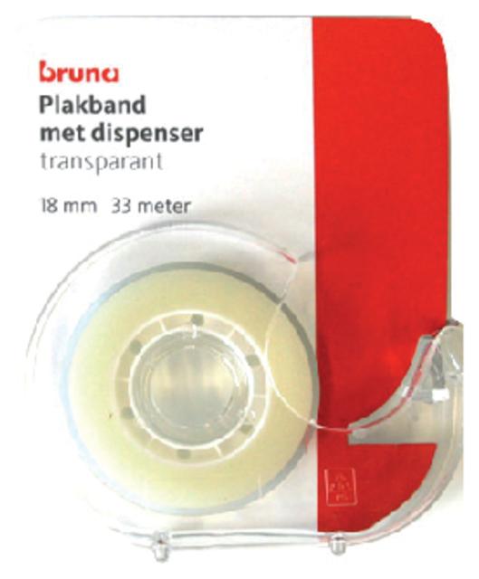 Plakband Bruna met dispenser 18mmx33m