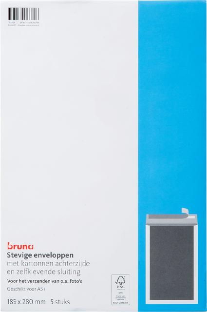 Envelop Bruna bordrug 185x280mm zelfklevend wit 5stuks