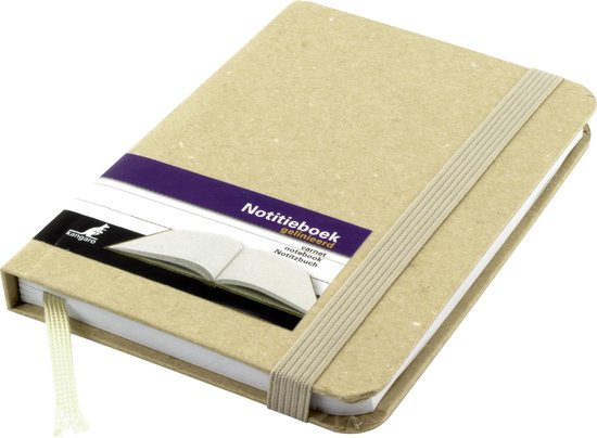 notitieboek met harde kraft kaft.
