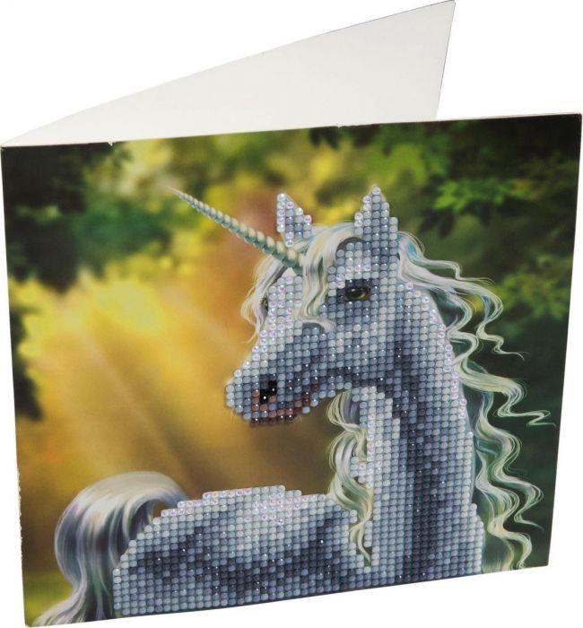 Crystal Art Kaart Eenhoorn 18 X 18 Cm
