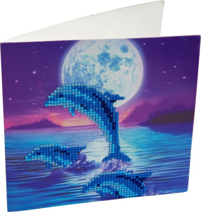 Crystal Art Kaart Dolfijnen 18 X 18 Cm