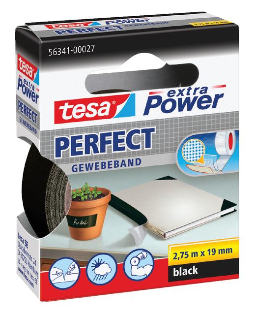 Plakband Tesa textiel 19mmx2.75m zwart