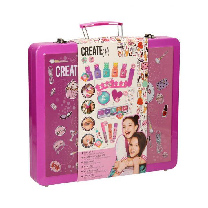 Create It! Make-Up Set Roze Kleur-Glitter Koffer